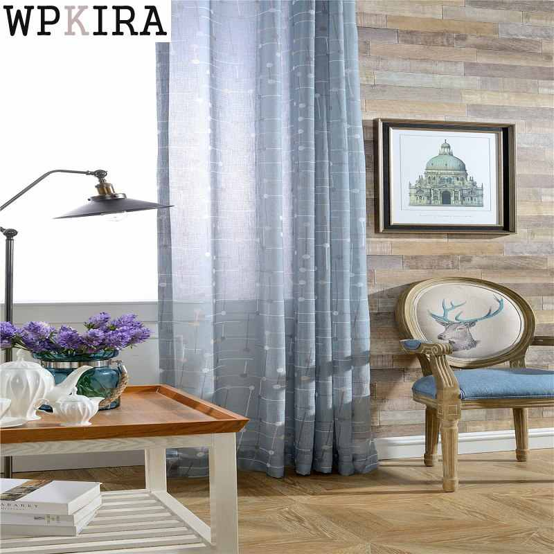 Modern Blue Plaid Tulle Curtains For Living Room Bedroom Curtain Grommet Kitchen Curtains Window Treatment Drapes 041&30
