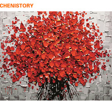 CHENISTORY Red Flower DIY Painting By Numbers Hand Painted Acrylic Picture Wall Art Modern Oil Painting For Wedding Decoration(China)