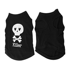 UESH Black Skull Pattern Sleeveless Pet Dog Tank Top Tee Shirt Clothes XS
