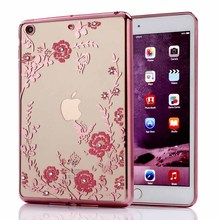 For Apple Pad Mini 1 2 3 Luxury Rhinestone Flowers Crystal Clear Soft Silicon Case for Apple Pad Mini 4 Cover for Apple Pad 6(China)
