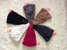 DHL/UPS Woolen Knitted Bow Turban Headband For Women Head Wrap Ear Warmer Hairband Hair Accessories 100pcs/lot Free shipping(China)
