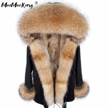 MAO MAO KONG fur coat parkas winter jacket coat women parka big real raccoon fur collar natural fox fur liner long outerwear(China)