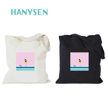 HANYSEN 2017 Hot Sale Summer Watermelon And Leaves Pattern Printing Canvas Zipper Handbags Fresh Art Model Shopping Bags