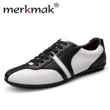 Buy Merkmak Big Size 36-46 Men Casual Shoes Full Grain Leather Men Flat Shoes Mens Black White Luxury Brand Trendy Leather Shoes for $35.79 in AliExpress store