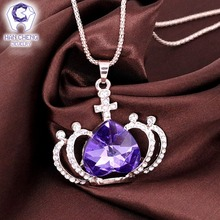 Buy Fashion Hollow Crown Rhinestone Created Crystal Necklaces & Pendants Plated Gold Chain Long Statement Necklace Women Jewelry for $3.40 in AliExpress store