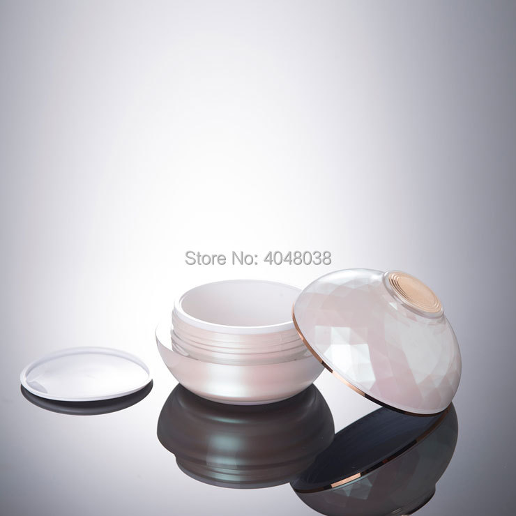 30G 50G Refillable Cosmetic Container Thickened Acrylic Facial Cream Jar with Hand Pad Pink Bowl Shape Top Grade Eye Cream Jar (5)