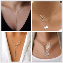 NK609+ Hot Selling New Punk Minimalist Infinity Luck 8 Cross Leaf Pendants Necklaces For Women Jewelry Clavicle Chain Collier(China)