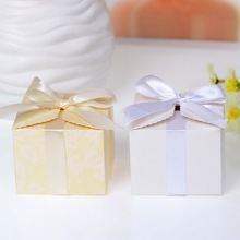 Simple Favor Box With Ribbon Gift Boxes Chocolate Boxes Paper Gift Boxes 50pcs(China)