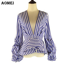 Puff Sleeve Blue White Stripe Blouse Shirts Ruffles Trim Women Sexy V Neck Summer Fashion New Tops Clothing Blusas Plus Size 4XL(China)