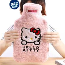 Hello kitty cartoon pink rubber hot water bottle water bag liner plush toys kids hand warmer(China)