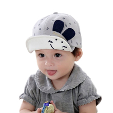 New Baby Hat with Ears Smiling Face Cartoon Kids Baseball Hat Summer Baby Boy Sun Hats GH113 Cotton Caps Girls Visors(China)