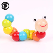 Hot 2017 17cm Hot wooden Cute caterpillars toy for baby kids educational colours developmental toys Kids Best birthday gift Doll