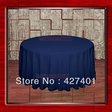 "Hot Sale  132"" R  Dark Blue Round Table Cloth Polyester Plain Table Cover for Wedding Events &Party Decoration(Supplier)"