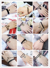 Creative Lace Bracelet Simple Flowers Double layer Clover Cherry smile Drops star Bracelets & Bangles For Woman Charms Jewelry