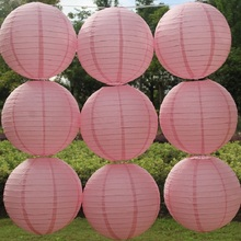 Pink Color Paper Lantern Wedding Party Decor Chinese Lantern Ball,10 pcs/lot, 5 sizes(10cm,20cm,30cm,40cm,50cm)