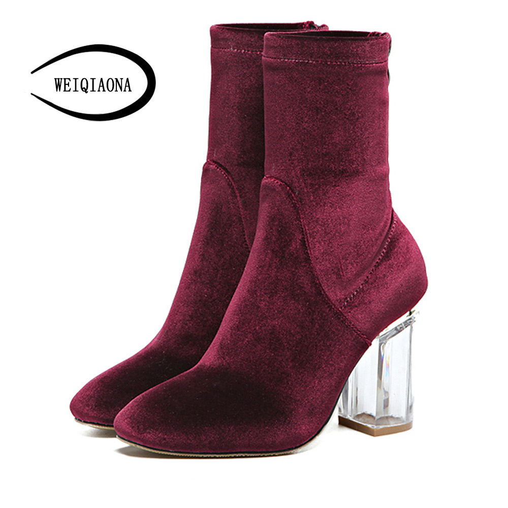 WEIQIAONA High Heels Shoes for Woman winter Fashion Velvet Crystal High heels boots square toe Ankle Boots Women zip Lady Shoes <br>