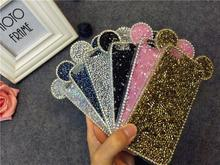 3D Micky Shinny Mouth Ear Glitter TPU Diamond Crystal Shell Cover For APPLE iPhone 7 7plus 6 s plus New Hot Fashion Phone Cases