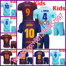 Barcelonaes jerseys 2017 18 home jersey PAULINHO Suarez barcelonaing kids A.Iniesta soccer jersey 17 18 Messi football jersey(China)