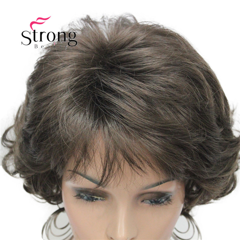 E-7125 #8 New Wavy Curly wig Medium Brown cloor 8# Short Synthetic Hair Full Women's wigs (5)