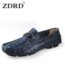ZDRD Big Size Italian Mens Loafers Crocodile Shoes Leather Luxury Brand Designer Fashion Dress Shoes Men Casual Driving Shoes(China)