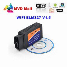 Best Quality V1.5 ELM327 WIFI OBD AUTO CHECKER OBD2 / OBDII Scanner On IOS Android ELM 327 WI-FI Diagnostic Tool Free Shipping
