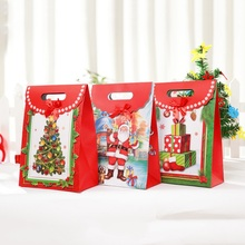 Best Sale Christmas Paper Bag Flip Candy Bag Box Gift Package Birthday Party Decor Fruit Bag Gift Bag Clamshell Christmas Tree(China)