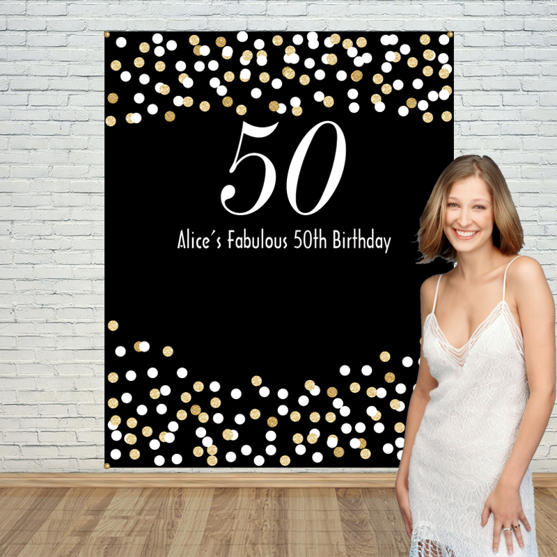 Allenjoy Gold Black white fifty Adult Birthday backdrop Background photo booth party banner Invitation celebration customize<br>