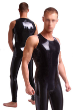 Buy new fashion Men's sexy black latex tights clothes fetish sleeveless rubber garment catsuit men plus size Hot sale