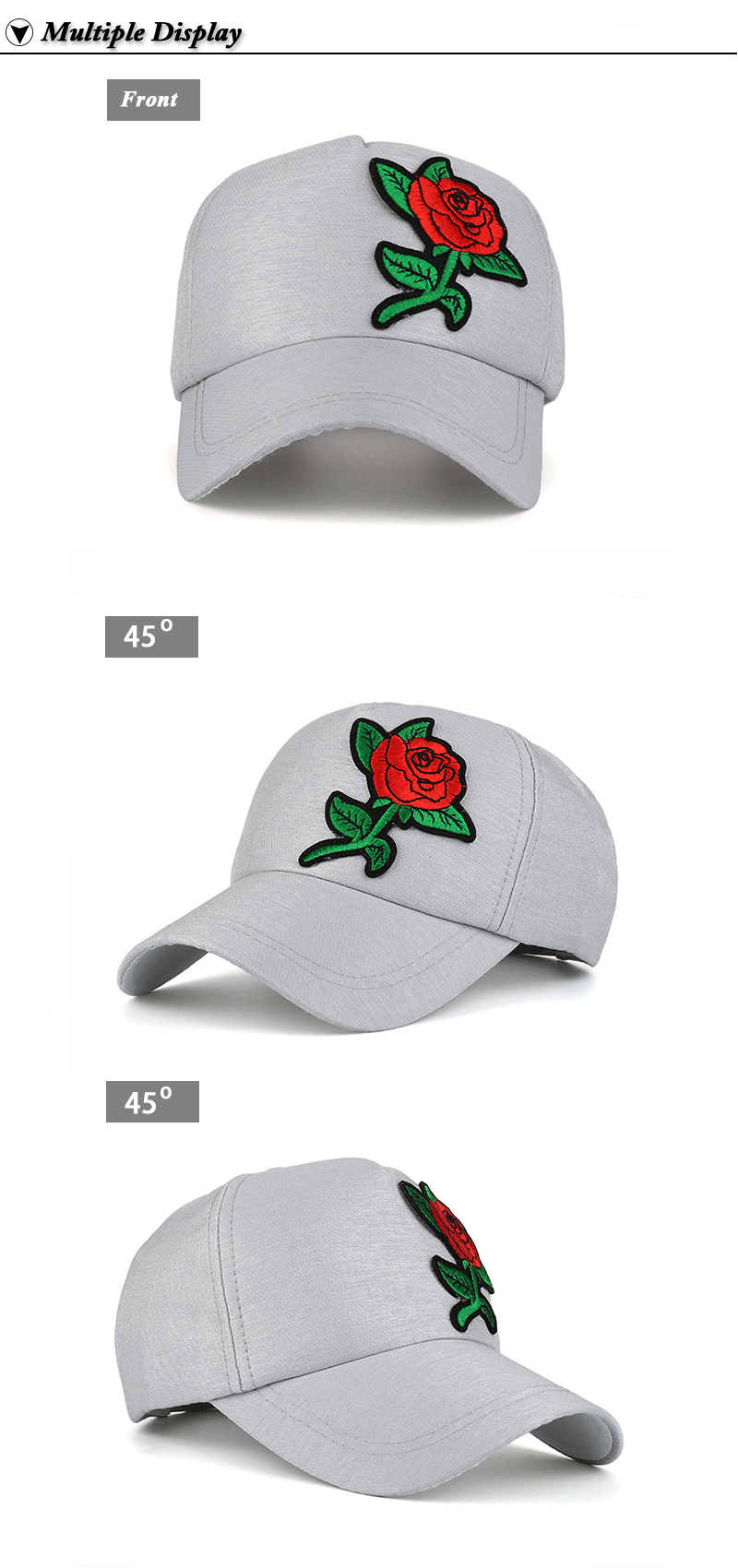 Small Embroidered Flower Snapback Cap - Front and Left and Right Front Angle Views
