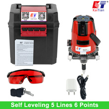 KaiTian Laser Level 5 Lines 6 Points with Slash Function and Outdoor /360 Rotary Self Leveling Euro Plug 635nM Level Laser Tools