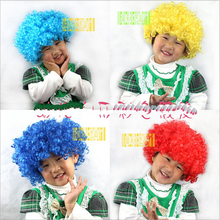 Free Shipping,100g Christmas Party Curly Hair Wig Disco Rainbow Afro Clown Hair wig Football Fan Children Costume Party wig