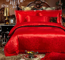 Luxury red wedding bed set 4pcs bedding set queen king size comforter cover bed sheet pillowcases lace bed covers hot sale 5714