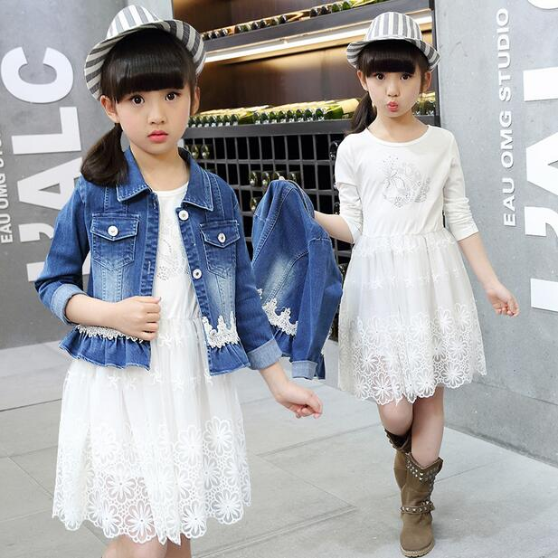 Children Clothing Sets Spring Cotton Girls Clothing Sets Fashion  Denim Coat &amp; lace dress 2Pcs Kids Clothing For Girls<br><br>Aliexpress