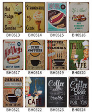 25 kind of HOT vintage coffee tea sweet food Pub Sign HOT DOG CAFE Theme Bar decor Size metal painting 20x30CM(China)