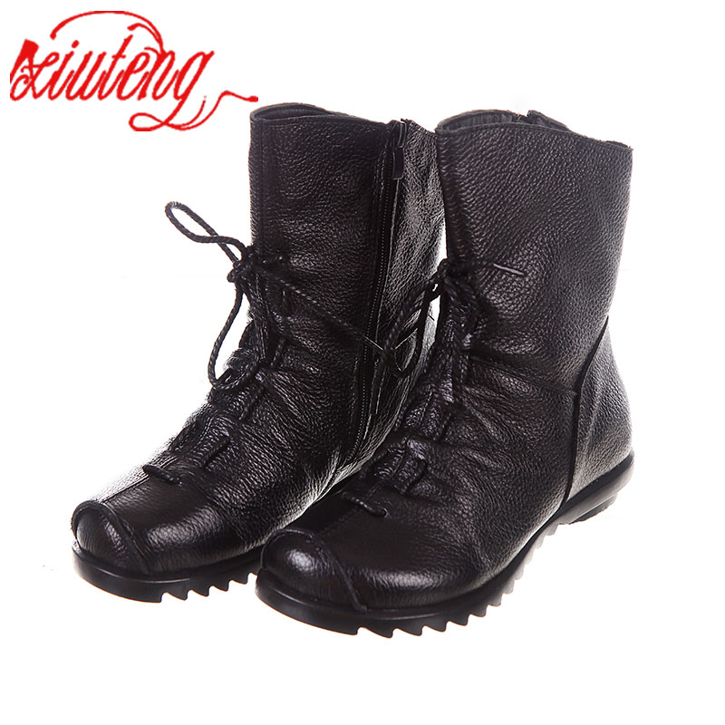 Xiuteng High Quality Mujer Chaussure Women Genuine Leather Boots Casual Martinshoes For Winter Flat with Boots Push Large Size<br>