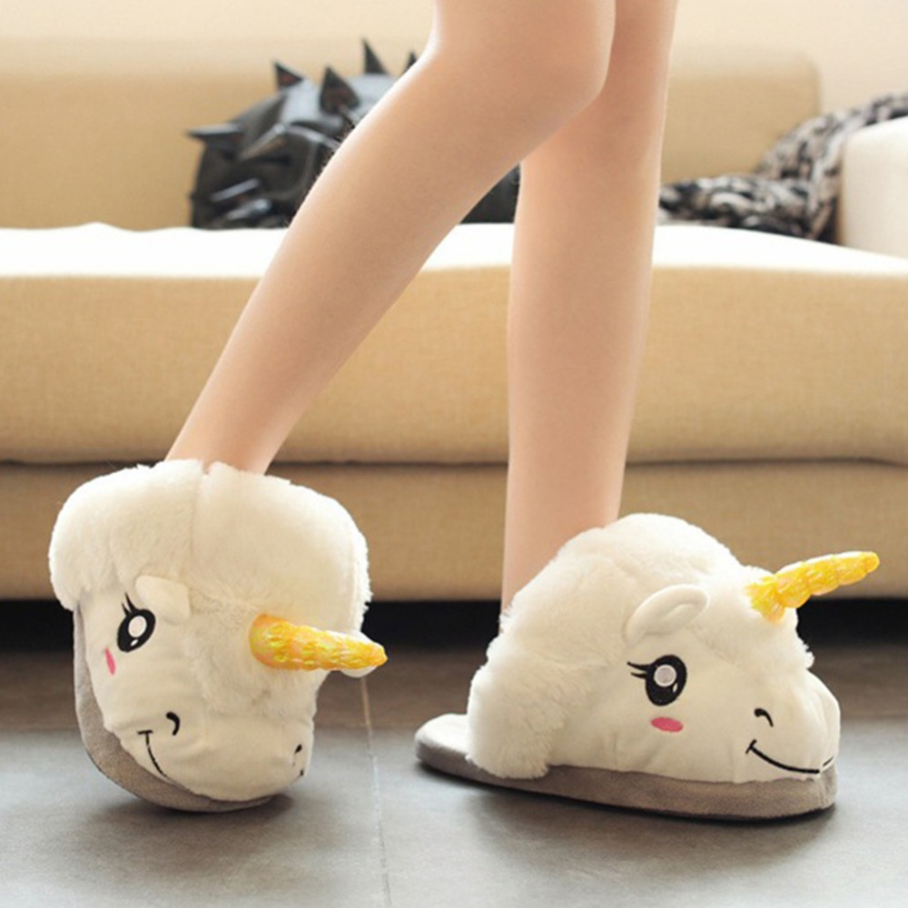 2016 New Winter Warm Slippers Women Casual Home Indoor Cute Cartoon Plush Unicorn Shoes For Grown Ups Pantufas<br>