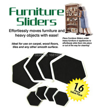 sexangular Furniture sliders,8 large slider and 8small,Easy moves furniture and heavy objects with ease, protect floors FP001(China)