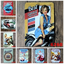 Best Classic Garage For Motorcycles Wall Stickers Sexy Lady With Tyre Retro Metal Tin Sign Car Tire Shop Home Decoration YN012