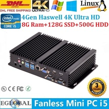 Super Mini PC Nettop Indurstrial Computador Thin PC Intel Core i5 4200U Max 2.6GHz 8GB Ram 128GB SSD 500GB HDD DHL Free Shipping