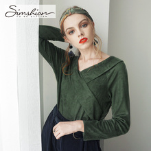 Simshion Women Green Vintage Faux Fur Shirts Autumn Plain Long Sleeves Spliced Blouses Tops Female Casual V-neck Shirt 2017(China)