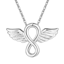 Hot factory promotions high quality silver plated jewelry fashion women creative Figure 8 Angel Wings necklace AN664 Kinsle