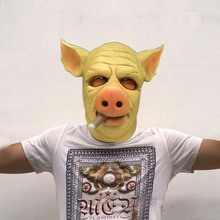 Game Cosplay H1Z1 Mask Kill of the King Cigar Hog Mask Full Head Latex Cosplay Halloween Party Pig Mask Healthy(China)