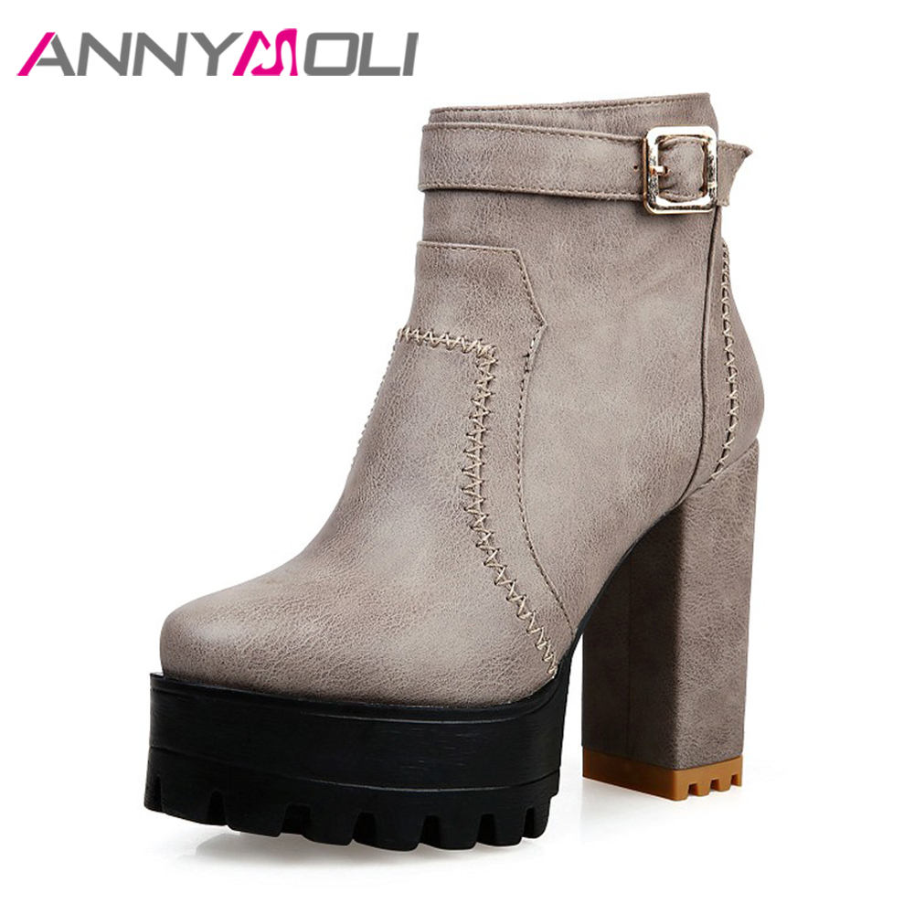 ANNYMOLI Winter Shoes Women Boots Platform High Heels Boots Buckle Punk Ankle Boots Sewing Female Autumn Footwear 2017 34-43 <br>