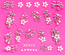 Sweet 3D white flower design Transfer Nails Art Sticker decals lady women manicure tools Nail Wraps Decals wholesale XF615