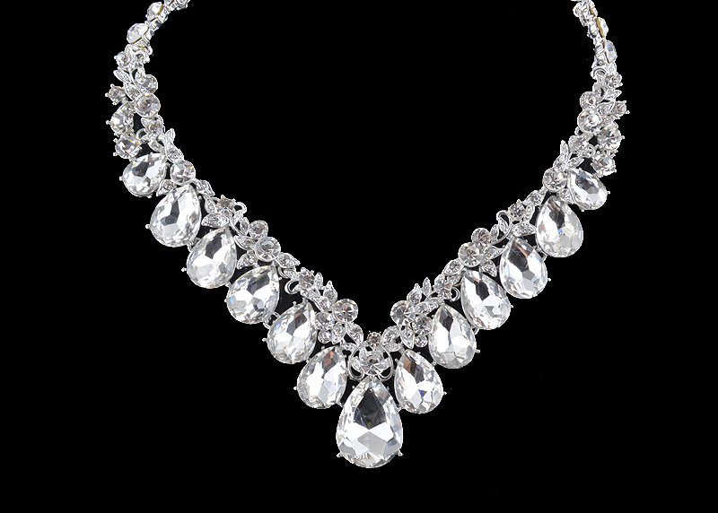 High quality wedding jewelry sets bridal silver necklace and earrings crystal rhinestone women party dress jewerly accessories 12