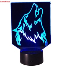 Buy Wolf Novelty 3D LED Lamp Night Light Power Bank Usb Led Lamparas Wireless Wall Lamp Usb Deco Home Gift 7 Colors Change Hologram for $12.86 in AliExpress store