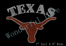 Free shipping hot fix  TEXAS LONGHORNS Inspired Logo Fan Art Rhinestone Iron On Transfer Hot Fix Bling