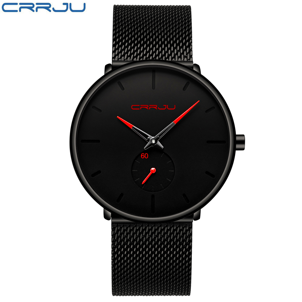 Men Watch CRRJU Watch Women Quartz Dress Watch for Men Dress Watches Fashion Unisex Ultra Thin Wristwatch Relojes Para Hombre