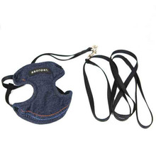 Brand New Pet Harness Soft Denim Adjustable Safety Control Restraint Cat Puppy Dog Harness Leash Leopard Walk Vest for Small Dog(China)