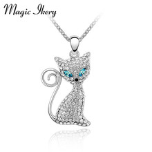 Magic Ikery New 2016 Gold Color Rhinestone Crystal Cute Lovely Cat Pendant male fashion Necklaces for women 2016 MKS00064(China)